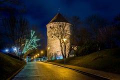 Medeltida torn i den gamla Tallinn staden Royaltyfria Foton