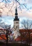 Medeltida torn i den gamla Tallinn staden Royaltyfri Fotografi