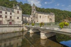 Medeltida town av Brantome Arkivfoto