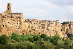 Medeltida town av Pitigliano i italienska Tuscany Arkivbilder