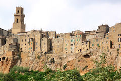 Medeltida town av Pitigliano i Tuscany, Italien Royaltyfri Bild