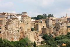 Medeltida town av Pitigliano, Tuscany, Italien Arkivfoto