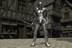 medeltida town för 01 riddare Arkivfoto