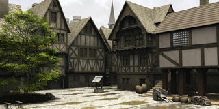 medeltida town för mittfantasimarknadsplats vektor illustrationer