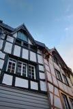 Medeltida tysk arkitektur av Monschau Arkivfoton