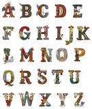 Medeltida upplysta bokstäver Arkivfoto