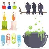 Medeltida uppsättning för beståndsdelar för rpg-leklägenhet stock illustrationer