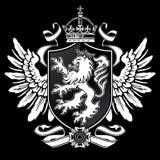 Den heraldiska lionen påskyndar vapen på svart Royaltyfri Bild
