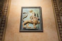 Medeltida väggdekor i den Palazzo dellaen Ragione Arkivbilder