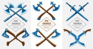 Medeltida vapen av forntida vikings Arkivfoto