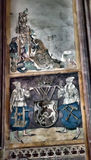 Medeltida väggmålningar i kyrkan Arkivfoto