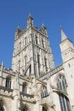 Medeltida vinkelrätt gotiskt torn av den Gloucester domkyrkakyrkan Royaltyfria Bilder