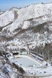 Medeo (eller Medeu) utomhus- hastighet som åker skridskor isbanan i Almaty, Kazakhst Royaltyfria Foton