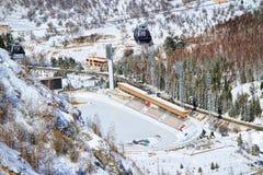 Medeo (Medeu) piste in Alma Ata, Kazachstan Royalty-vrije Stock Afbeelding