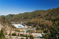 Medeo Stadium. Outdoor speed skating and bandy rink in a mountain valley Royalty Free Stock Photo