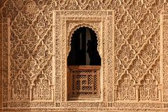 Medersa Ben Youssef. Detail.  Marrakesh . Morocco. Medersa Ben Youssef. Architectural detail of a window in the upper floor with geometric patterns and arabic Stock Images