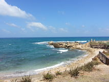 The Medeterainian Sea view toward Herod the Greats swimming pool Royalty Free Stock Photo