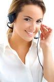 Medewerker met hoofdtelefoons Stock Afbeeldingen