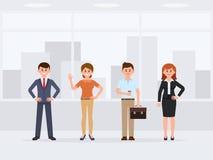 Medewerkers die zich bij het karakter van het bureaubeeldverhaal bevinden Vooraanzicht van jonge gelukkige collega's royalty-vrije illustratie
