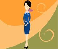 medfölja stewardess för kabinlagsflyg Arkivbild