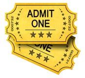 medge en tickets två Arkivfoto