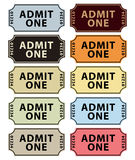 medge samling en tickets Arkivbilder