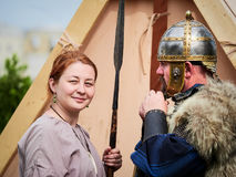 MEDGIDIA, ROMANIA - MAY 6, 2017. Dacian warriors at Dapyx Antique Festival - Medgidia who present habits, lifestyle and fighting t Royalty Free Stock Photos