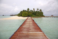 Medhufushi Island. Resort is naturally quiet, serene, authentic Maldivian island royalty free stock images
