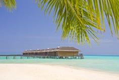 Medhufushi Island. Maldives, Medhufushi Island resort with water bungalows stock images