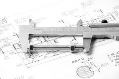 Medição e instrumentos de desenho nos desenhos Imagem de Stock Royalty Free