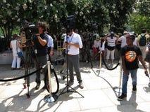 Media à l'éclipse solaire partielle Photographie stock libre de droits