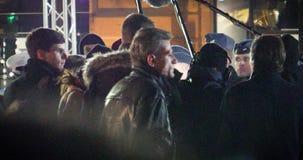 MEDIA και ασφάλεια γύρω από το Emmanuel macron κατά τη διάρκεια της επίσημης επίσκεψης στο Στρασβούργο απόθεμα βίντεο