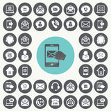 MEDIA και εικονίδια επικοινωνίας καθορισμένα Στοκ εικόνα με δικαίωμα ελεύθερης χρήσης