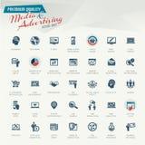 MEDIA και σύνολο εικονιδίων διαφήμισης απεικόνιση αποθεμάτων