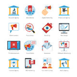 Media Advertising Flat Design Icons Stock Image