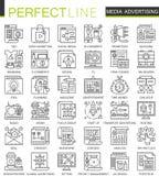 Media advertising outline mini concept symbols. Marketing advertisement promotion modern stroke linear style Stock Photography