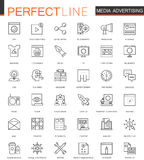 Media Advertising thin line web icons set. Outline stroke icons design. Royalty Free Stock Photos
