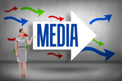 Media against arrows pointing Royalty Free Stock Photos