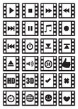 Media and Audio Symbols on Negative Film Vector Icon Set. Set of vector icon designs of media and audio related symbols with photographic negative film frame Stock Photography