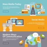 Media Banner Set. Social mass media banner horizontal set communication elements isolated vector illustration Stock Images