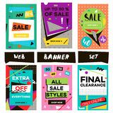 Media banners for online shopping. Design for mobile website banners, posters, email and newsletter. Royalty Free Stock Image
