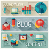 Media and banners set design with blog icons Royalty Free Stock Photos