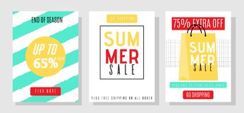 Media Banners Template Set with Summer Sales Offer. Advertising Media Banners Template Set with Summer Sales Offer. Social Pages with Great Discounts. Extra off stock illustration
