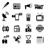 Media Black White Icons Set Stock Photos