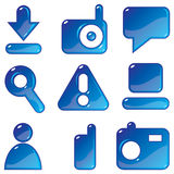 Media blue gel icons Stock Photography