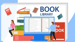 Media book library concept. Vector illustration of online library. E-book, reading an ebook to study on e-library vector illustration