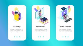 Media book library, online test,. Video courses concept. E-book, reading an ebook to study on e-library at school. E-learning online flat Isometric vector royalty free illustration