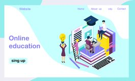 Media book library, online test,. Video courses concept. E-book, reading an ebook to study on e-library at school. E-learning online flat Isometric vector vector illustration