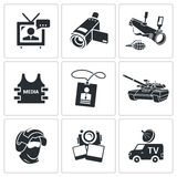 Media broadcasting from a war zone Icons set Royalty Free Stock Photo