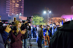 Media at Bucharest 2015 demonstrations at Piata Universitatii Royalty Free Stock Photos